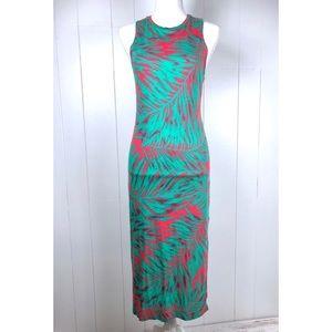 VANS Midi Dress S Tropical Palm Sleeveless Slit